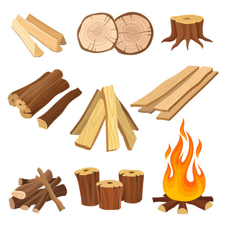 Flat vector set of firewood. Logs and flame, tree stumps, wooden planks. Organic material, natural texture. Wood production industry Vectores