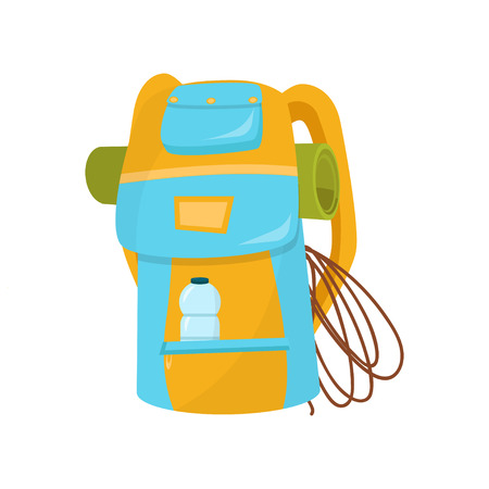 Hiking backpack with rope, camping mat and bottle of water in pocket. Bright blue-yellow bag for adventurer. Flat vector icon