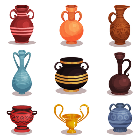 Flat vector set of various amphoras. Ancient Greek or Roman pottery for wine or oil. Old clay jugs with ornaments. Shiny golden cup Ilustração