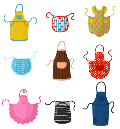 Flat vector set of colorful kitchen aprons. Protective garment. Cooking dress for housewife or chef of restaurant Ilustração