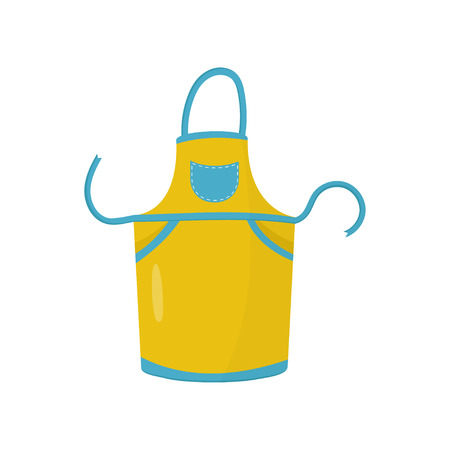 Yellow kitchen apron with small blue pocket. Protective garment of housewife. Flat vector element for culinary courses promotion 일러스트