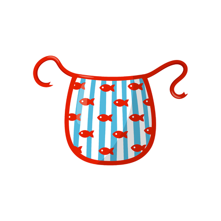Kitchen apron with blue stripes and red fishes. Flat vector element for advertising poster or flyer of household goods store