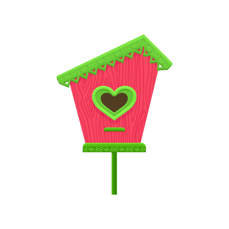 Lovely wooden birdhouse with hole in shape of heart. Pink nesting box with green roof on stand. Flat vector element for postcard