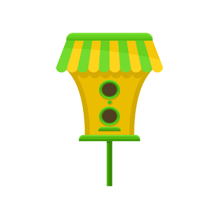 Birdhouse with green-yellow roof. Cute nesting box on stand. Small house for birds. Flat vector element for mobile game