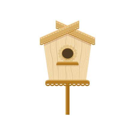 Wooden birdhouse on stand. Flat vector icon of nesting box. Small house for birds. Decorative element for greeting card 스톡 콘텐츠 - 102161111