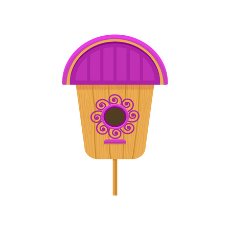 Flat vector icon of wooden birdhouse with purple roof and pattern. Nesting box on stand. Small house for birds