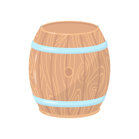 Wooden barrel with metal hoops. Cylindrical container made of wood. Flat vector element for poster, banner or flyer Foto de archivo