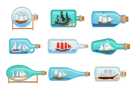 Flat vector set of glass bottles with ships inside. Sailing crafts. Miniature models of marine vessels. Hobby and sea theme Çizim
