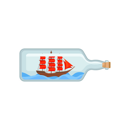 Wooden ship with bright red sails inside of transparent glass bottle. Miniature model of marine vessel on blue waves. Flat vector icon Illustration