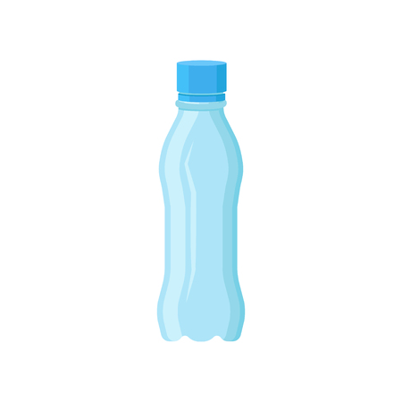 Transparent plastic bottle for mineral water. Small container with blue lid. Flat vector element for advertising poster or banner