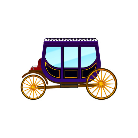 Horse-drawn carriage with large purple cab and big gold wheels. Vintage passengers transport. Flat vector icon of antique wagon Illustration