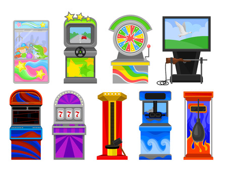 Flat vector set of various arcade machines. Boxing, claw crane, strength tester, auto simulator, wheel of Fortune, shooting game