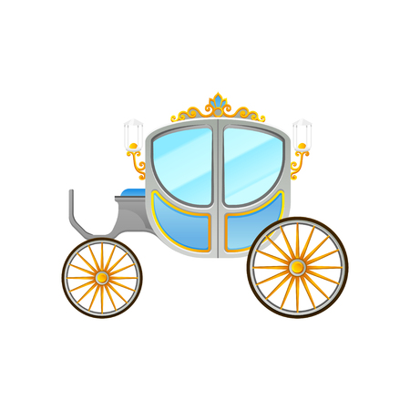 Flat vector icon of royal horse-drawn carriage with small cab. Vintage vehicle decorated with lanterns and golden ornaments