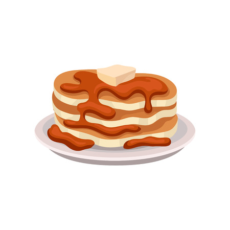 Stack of fresh pancakes with chocolate syrup and piece of butter on top. Tasty breakfast.Flat vector element for cafe menu or poster Иллюстрация