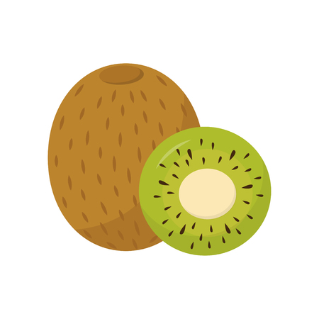 Slice and whole kiwi. Tasty and healthy tropical fruit. Delicious food. Flat vector for yogurt packaging, promo poster or banner