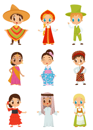 Flat vector set of little kids in different national costumes. Boys and girls wearing traditional clothes Vettoriali