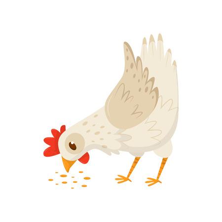 Gallina comiendo semillas. Aves domésticas con vieira rojo brillante y patas anaranjadas. Icono de vector plano de pájaro de la granja. Tema de la avicultura