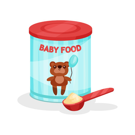 Metal jar of milk powder and full spoon. Flat vector icon of baby food. Infant formula. Nutrition for toddlers Illustration