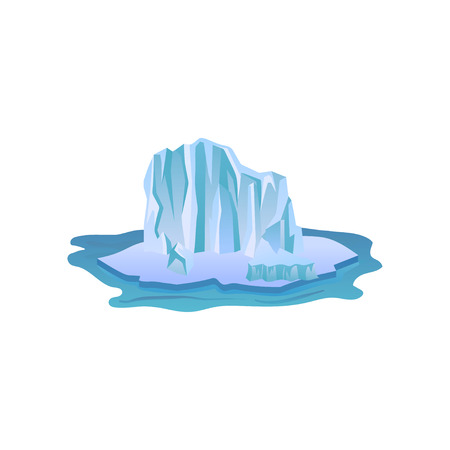 Large blue iceberg with lights and shadows. Big ice mountain floating in pure water. Arctic landscape Flat vector icon design