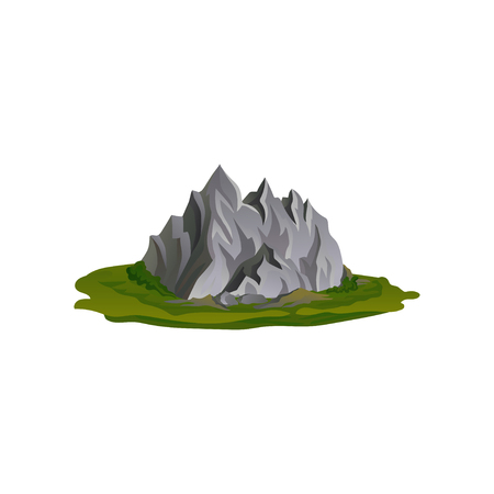 Flat vector illustration of gray rocky mountain surrounded with green grass. Nature environment. Climbing or mountaineering theme