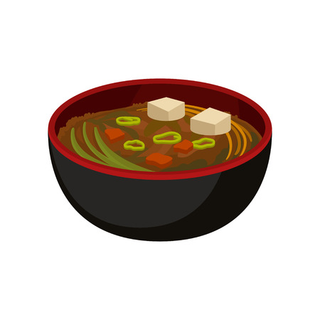 Delicious miso soup in black bowl. Traditional Japanese dish. Flat vector element for promo poster, cafe or restaurant menu Vettoriali