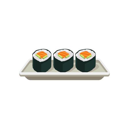 Rouleaux de saumon appétissants. Sushi Hosomaki. Cuisine japonaise traditionnelle. Délicieux plat asiatique. Élément plat pour menu de café ou de restaurant