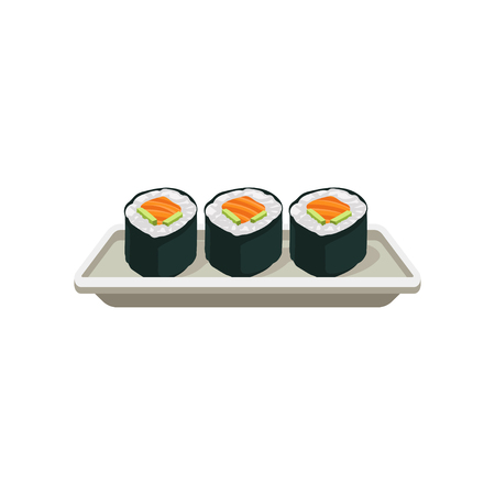 Smakelijke zalmrolletjes. Hosomaki sushi. Traditioneel Japans eten. Heerlijk Aziatisch gerecht. Vlak element voor café- of restaurantmenu