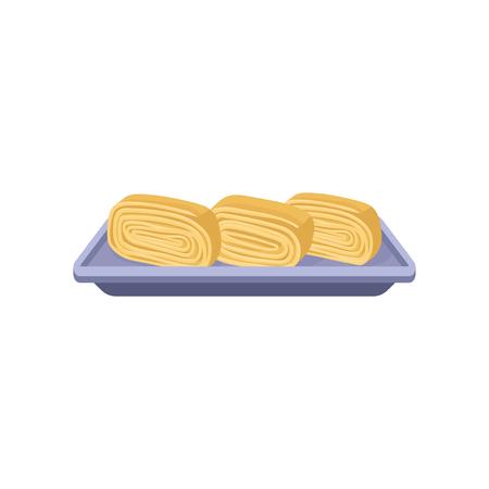 Delicious tamagoyaki rolls on purple rectangular plate. Japanese cuisine. Asian food. Flat vector for menu, recipe book or promo flyer