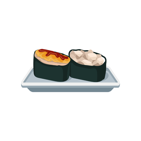 Gunkan-maki rolls with different ingredients. Delicious sushi. Traditional Japanese dish. Flat vector for promo poster, recipe book or menu
