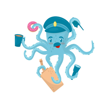 Funny blue octopus with mustache in policeman s cap. Marine animal holding police items in tentacles. Flat vector for kids about career Иллюстрация