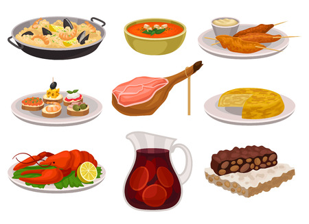 Flat vector set of traditional Spanish food and drink. Paella, refreshing gazpacho soup, grilled chicken with sauce, sangria in glass jar