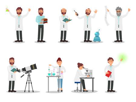 Conjunto de vector plano de científicos de personas. Hombres y mujeres con batas blancas. Profesionales que trabajan en laboratorios. Elementos para cartel sobre profesiones.