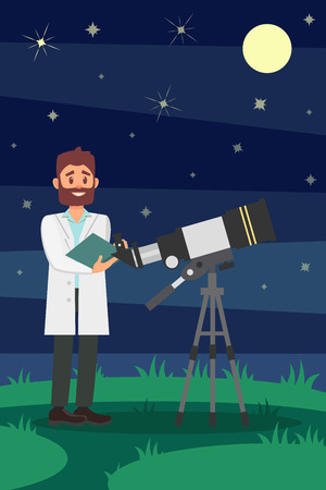 Man astronomer in white lab coat standing near telescope. Young male scientist. Night starry sky on background. Flat vector design