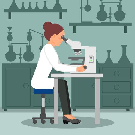 Scienziato della donna che fa ricerca di biologia facendo uso del microscopio. Biologo femminile sul posto di lavoro. Attrezzature di laboratorio sullo sfondo. Disegno vettoriale piatto Logo
