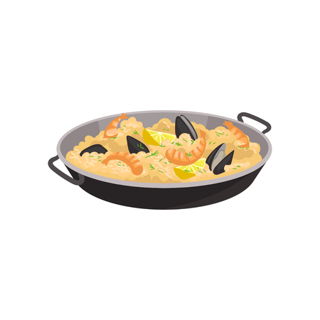 Paella with shrimps, oysters and slices of lemon in black pan. Traditional Spanish dish. Flat vector for promo flyer or menu