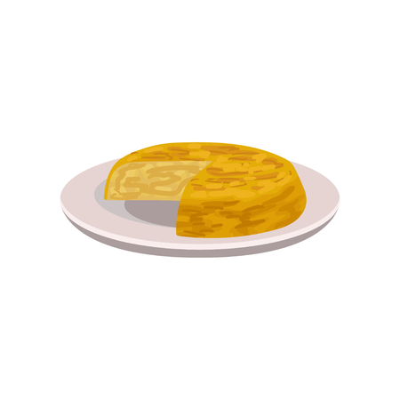 Appetizing tortilla on plate. Popular dish of Spanish cuisine. Food theme. Flat vector element for recipe book, menu or promo flyer