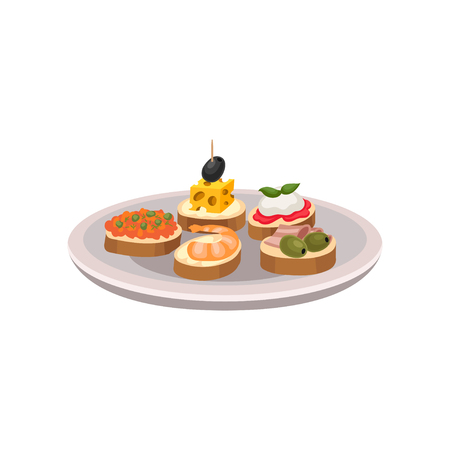 Delicious tapas with different ingredients. Traditional Spanish snacks on plate. Flat vector for advertising poster, menu or recipe book