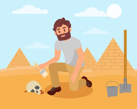 Archeologo che pulisce il cranio umano dal terreno sabbioso. Scavi archeologici nel deserto egiziano. Disegno vettoriale piatto