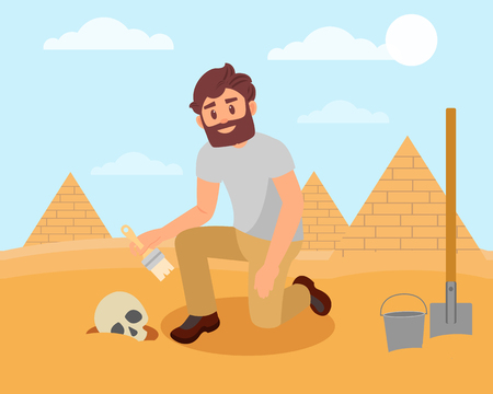 Archaeologist cleaning human skull from sandy soil. Archaeological excavations in Egyptian desert. Flat vector design