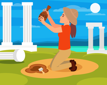 Woman archaeologist with old ceramic jug in hands. Archaeological excavations in Greece. Columns, sea and blue sky on background. Flat vector design Illusztráció