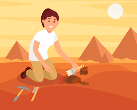 Young smiling woman sweeping dirt off old ceramic jug. Archaeologist working on excavation in sandy Egyptian desert. Flat vector design Vettoriali