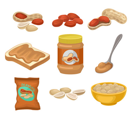 Flat vector set of peanut products. Whole and peeled nuts. Toasted bread with sweet butter, glass jar and spoon. Delicious snack Illustration