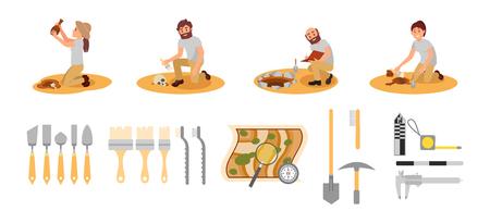 Conjunto de vector plano de arqueólogos y herramientas. Personas que trabajan en excavaciones. Dispositivos de medición, mapa con lupa, manejar instrumentos. Logos