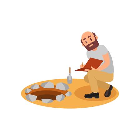 Archeologo seduto vicino alla fossa e prendere appunti nella cartella. Uomo calvo con barba. Scavi archeologici. Disegno vettoriale piatto Logo