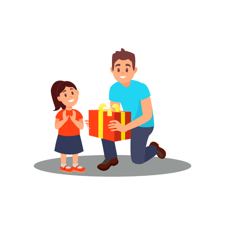 Volunteer giving gift to little girl. Social worker. Father congratulates daughter on her Birthday. Flat vector design