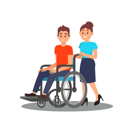 Girl volunteer helping guy with physical disabilities. Young man in wheelchair and cheerful social worker. Flat vector design Illustration