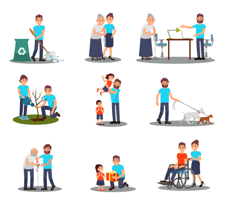Flat vector set of young volunteers in action planting tree, picking plastic bottles, walking with dogs, helping seniors and sick people Illustration