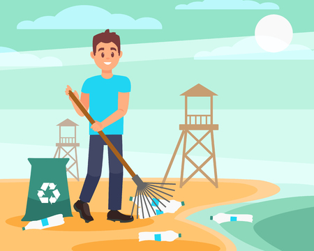 Young volunteer with rake picking empty plastic bottles on the beach. Blue sky and wooden rescue towers on background. Flat vector design
