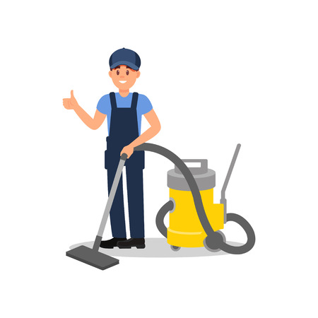 Smiling man with vacuum cleaner showing thumb up. Guy in working overall and cap. Flat vector for promo poster or cleaning company