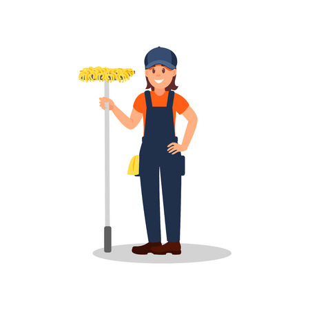 Cheerful woman standing with mop. Cleaning company, service. Young girl in working uniform. Colorful flat vector design  イラスト・ベクター素材